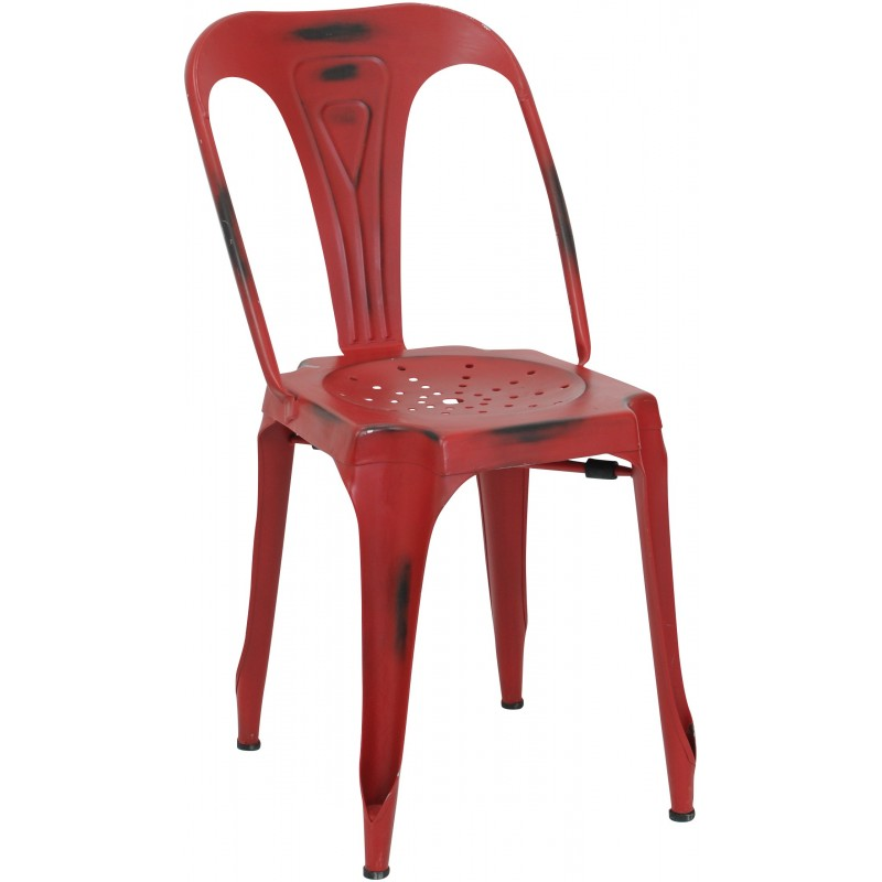 Chaise de restaurant Multipls industriel acier  rouge