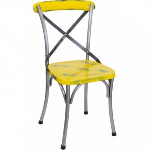 Chaise de restaurant Cross industriel acier brut jaune