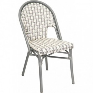 Chaise de terrasse Mademoiselle bistrot aluminium rotin anthracite