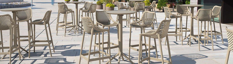 tabouret de bar pour terrasse empilable tresse toile aluminum